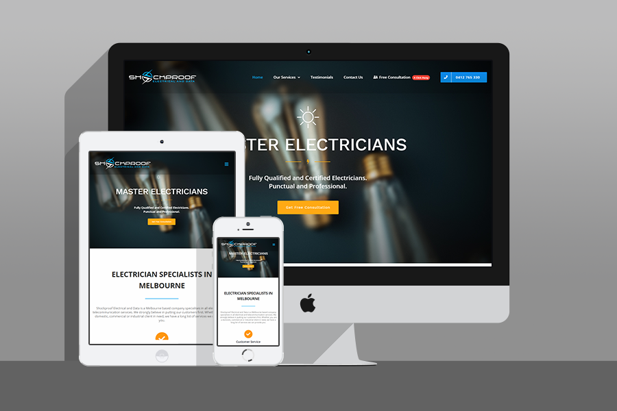 Web Design, SEO, Social Media Agency Melbourne - Client Shock Proof Electrical